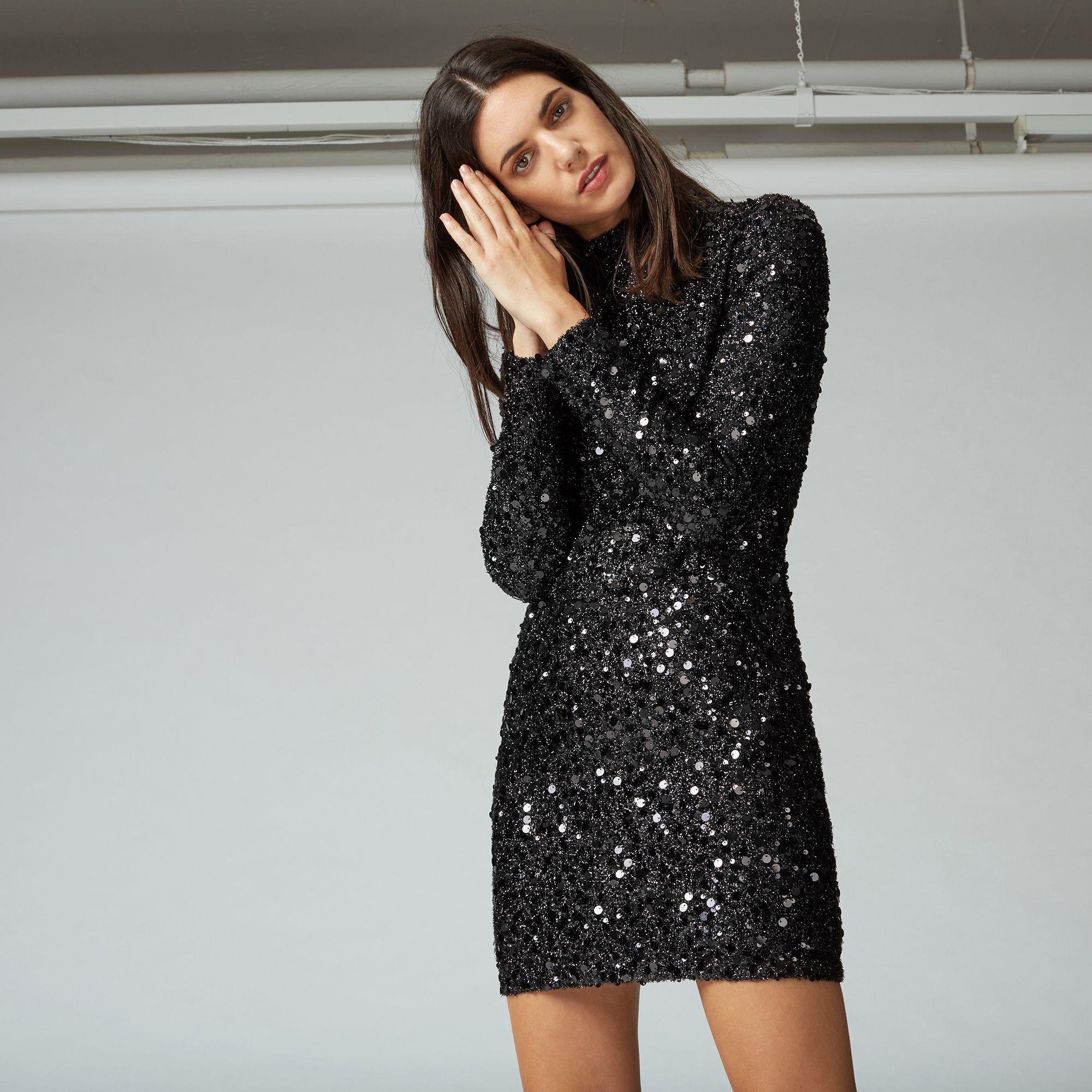 Warehouse black sequin bodycon dress
