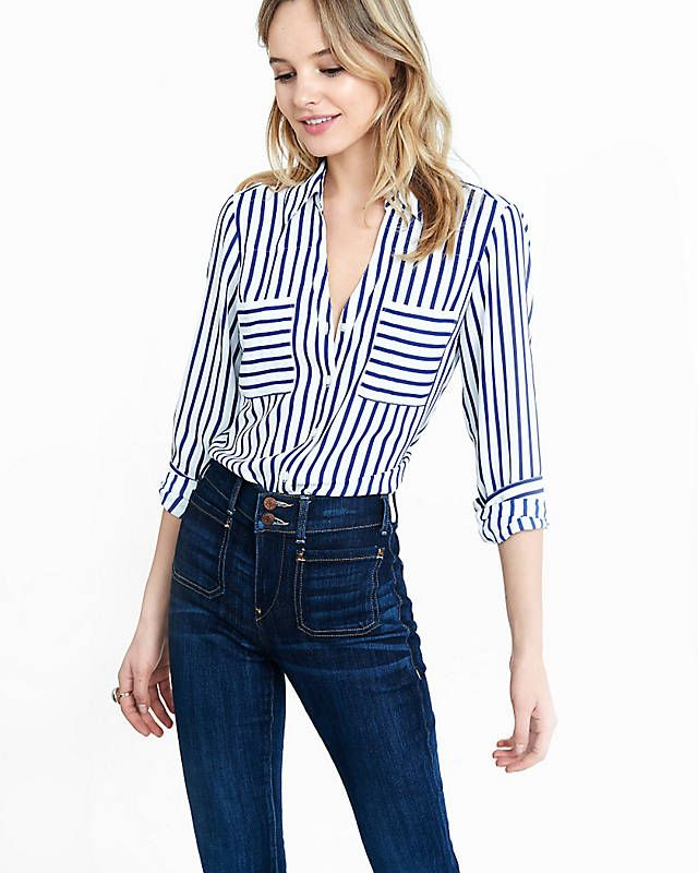 09c569157ad5 Slim Fit Navy And White Striped Portofino Shirt from EXPRESS