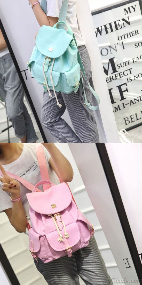 8abfd76146 Pink or green  Sweet Candy Canvas College Rucksack Mint Green Pure Color  Girls Backpack  mint  green  lady  sweet  large  scrub  school  college   student ...
