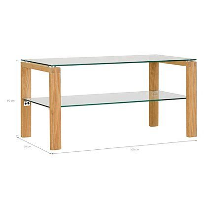 Winston Coffee Table Oak And Glass Furniture Side