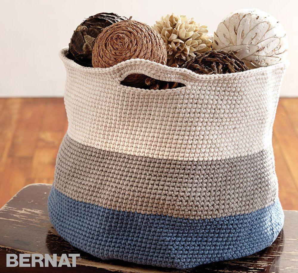 Handy Basket In Bernat Maker Home Dec Downloadable Pdf Crochet Basket Pattern Crochet Basket Pattern Free Crochet Basket