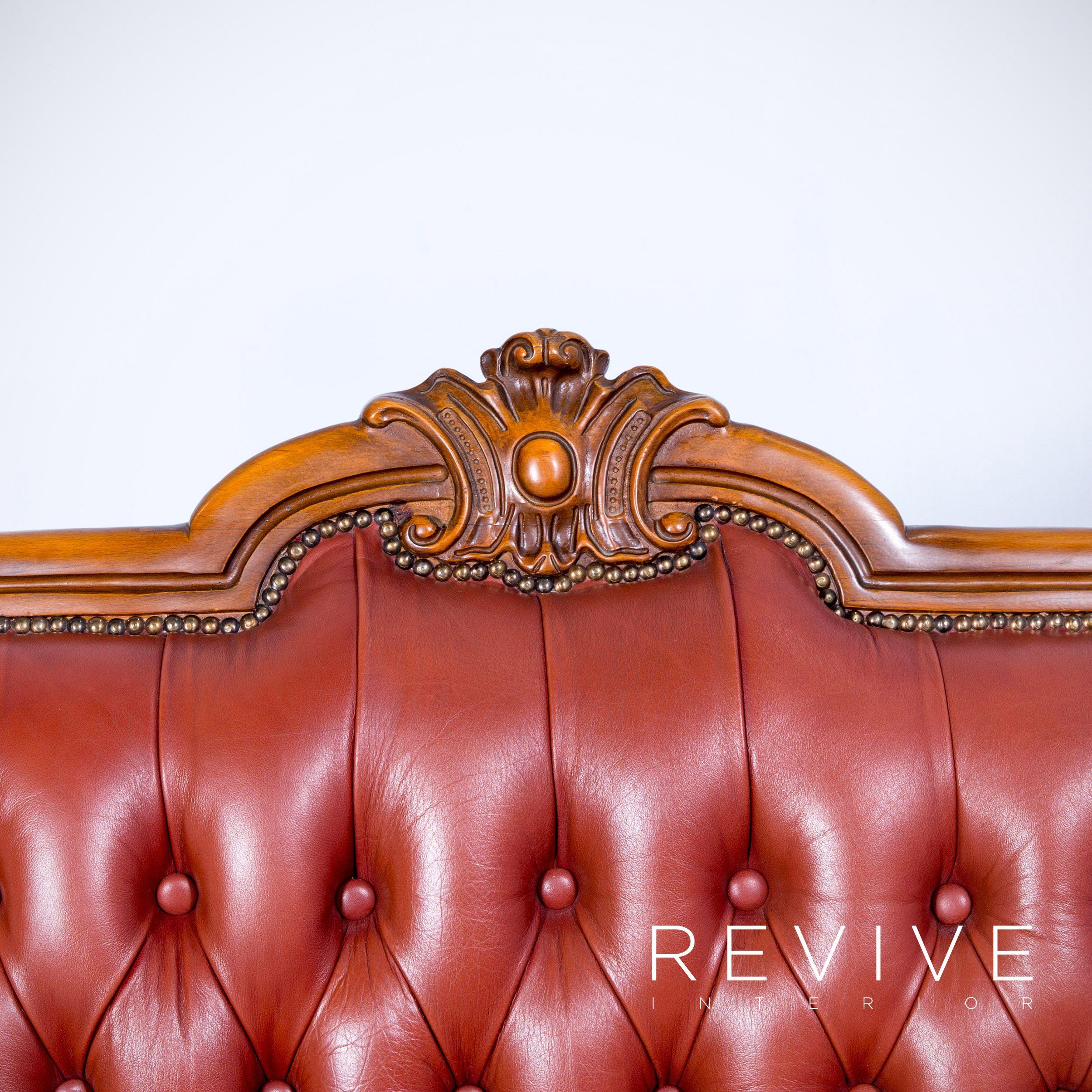Chesterfield Sofa Rot Braun Orange Leder Dreisitzer Couch Echtleder Modern 4132 Di 2020