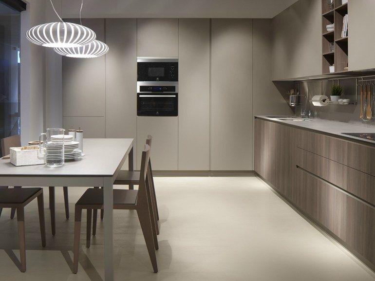 Cucina lineare SERIE 45 PIEDRA OLMO CHOCOLATE Collezione Contemporary by Muebles Dica