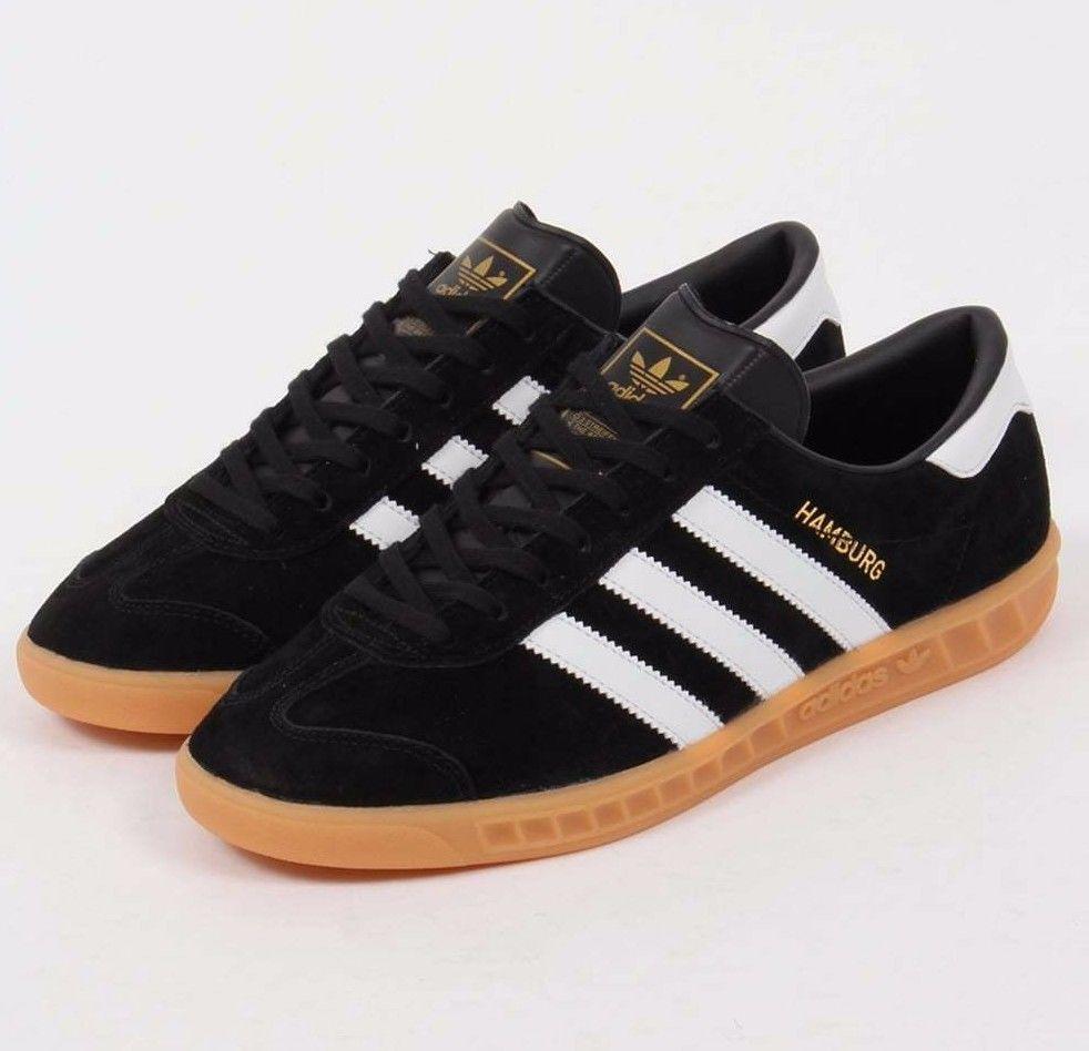Mens Adidas Originals Hamburg Suede Shoes Black Gum S76696 Size 11 ...