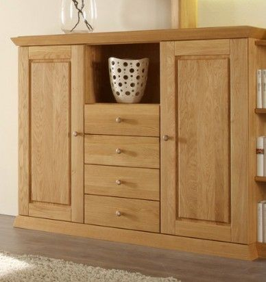 Highboard In Eiche Massiv Naturbelassen Geölt Woody 106-00012