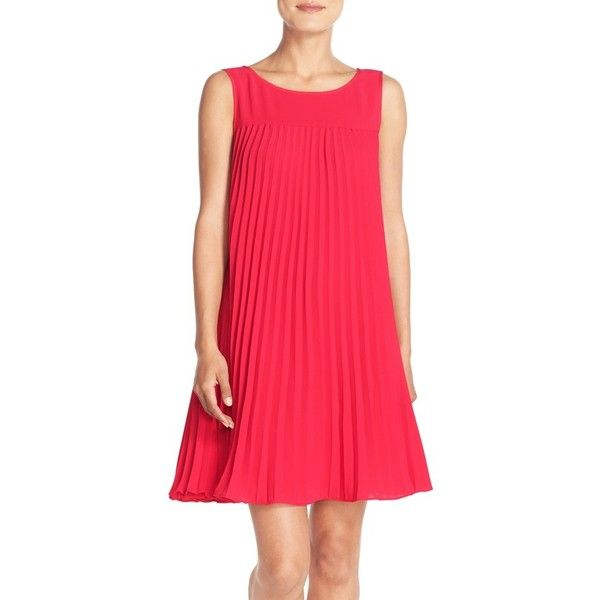Adrianna Papell Flyaway Pleated Crepe Shift Dress ($160) ❤ liked on Polyvore featuring dresses, flare red, red crepe dress, red pleated dress, keyhole back dress, flared dress and pleated dress