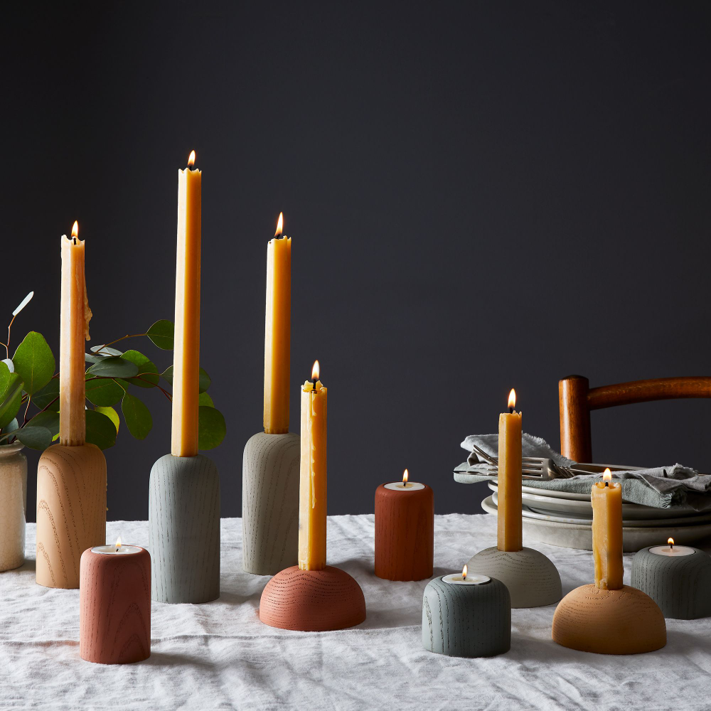 Concrete Wood Grain Candleholders (Set of 2) Candle