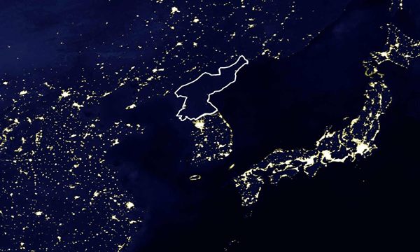 the nighttime satellite image above shows a small section of night lights in asiato the north and south are china and south korea respectively