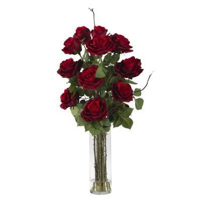 Roses w/Cylinder Vase Silk Flower Arrangement @ floraldecoronline.com