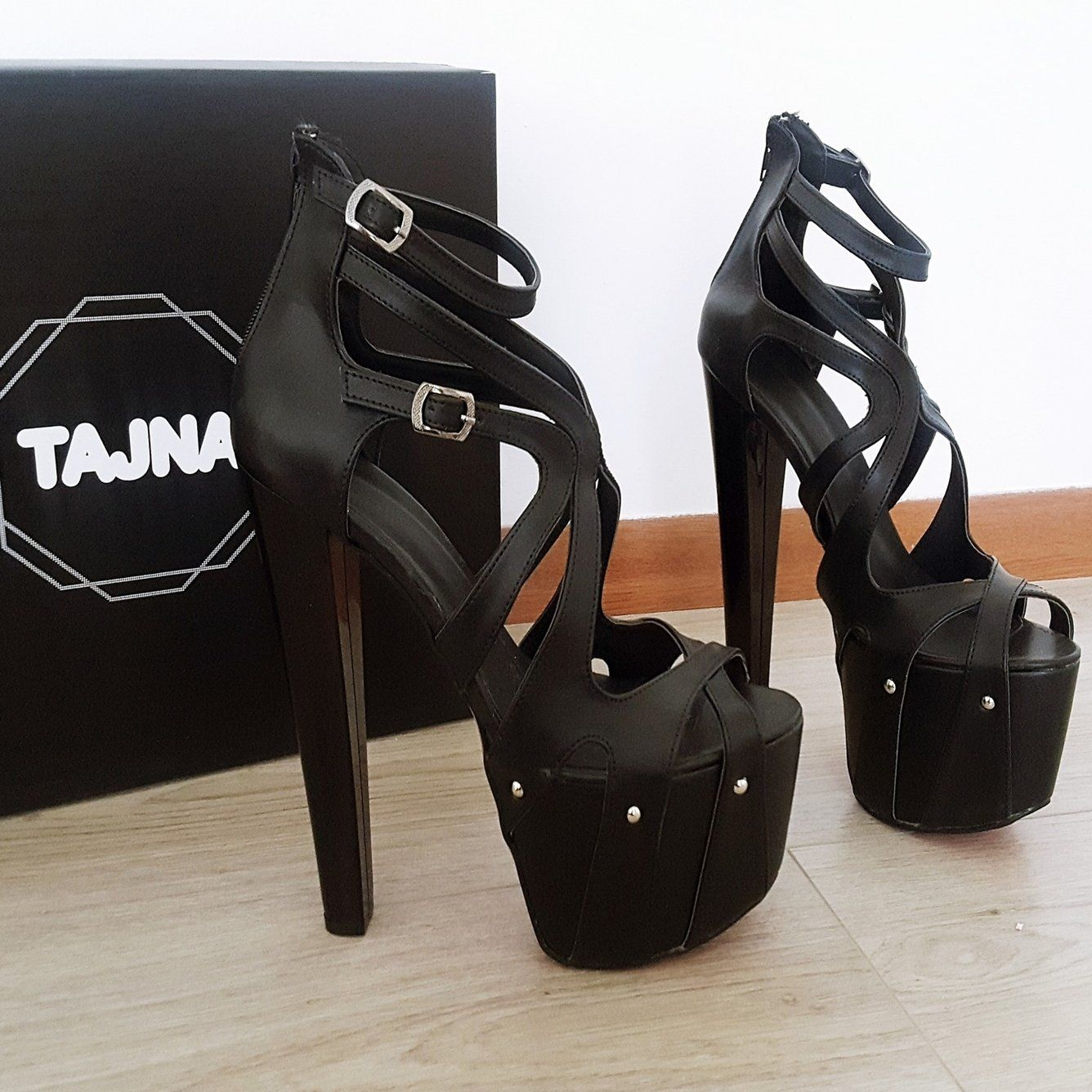 d8033440cec Black Cage Designer High Heel Platform Shoes – Tajna Club