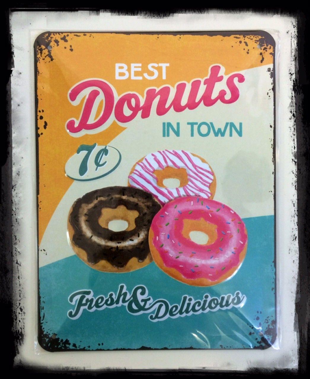 plaque m tal donuts diner g teau p tisserie publicit r tro vintage usa plaque maill e m tal. Black Bedroom Furniture Sets. Home Design Ideas