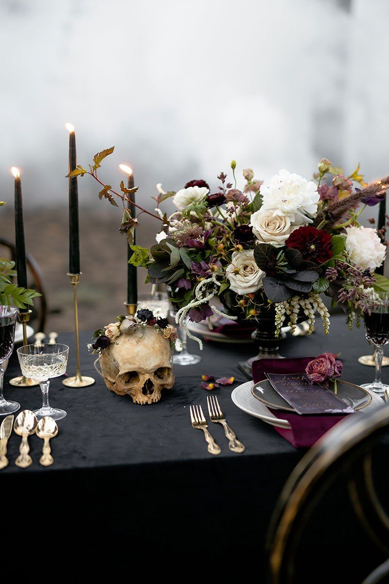 Elegance overflows at this misty Halloween ballet wedding inspiration