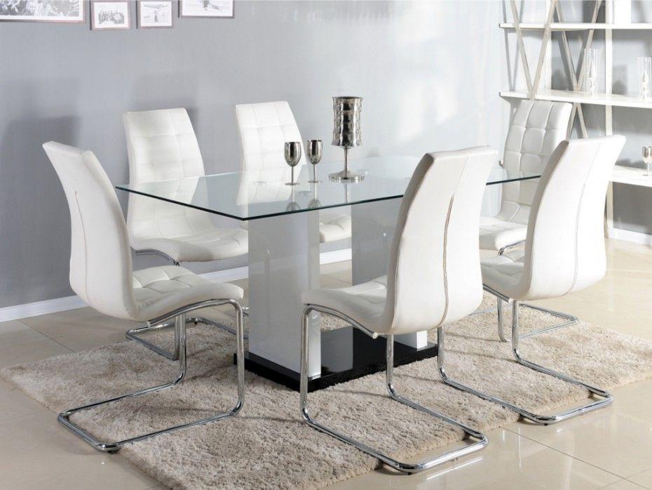 Table à Manger MARISA Couverts Verre Trempé Et MDF Laqué - Table a manger extensible blanc laque pour idees de deco de cuisine