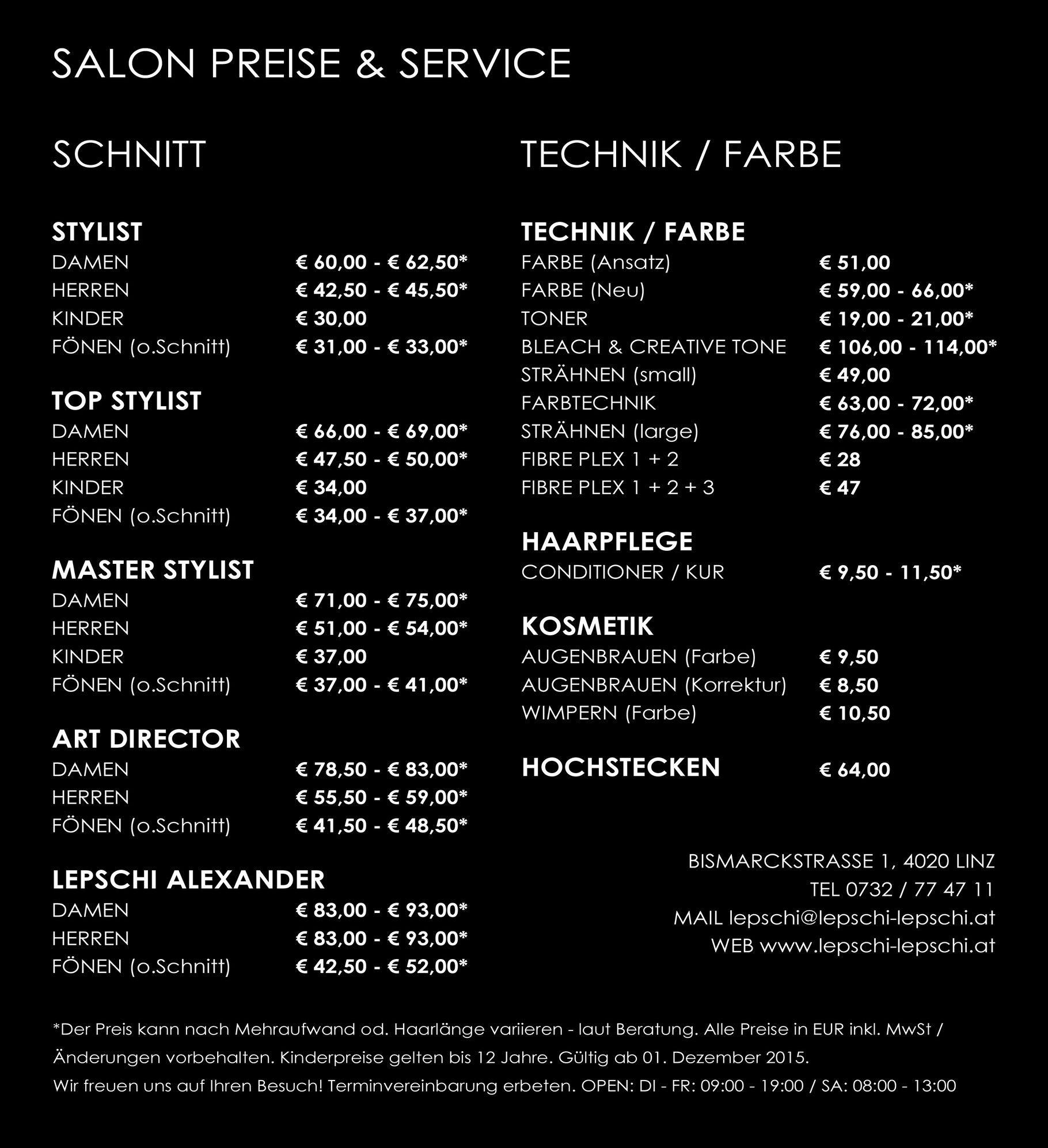PREISE - Lepschi & Lepschi Hairdressing - Ihr Friseur in Linz
