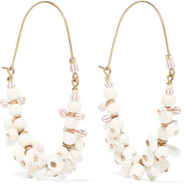 Isabel Marant Jacques gold-tone, bone and howlite earrings (€155) ❤ liked on Polyvore featuring jewelry, earrings, gold, beaded hoop earrings, gold tone jewelry, dangle hoop earrings, beaded jewelry and isabel marant jewelry