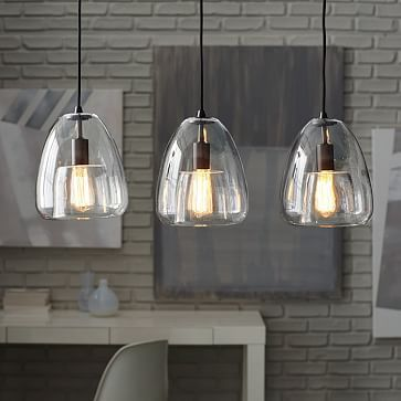 Duo Walled Pendant Light Black OxideClear At West Elm - 3 pendant light fixture island