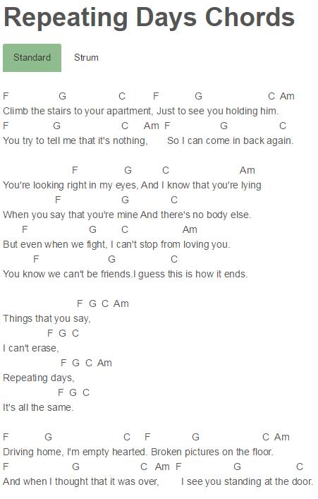 Repeating Days Chords R5 | UKELELE | Pinterest | Sheet music ...