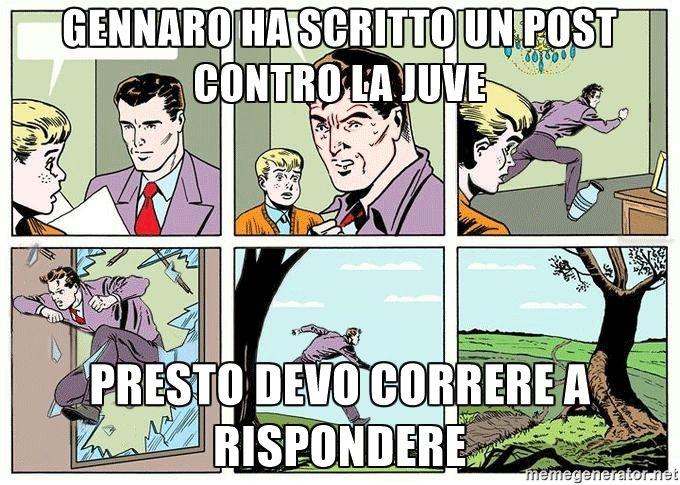 Gennaro ha scritto un post contro la juve Presto devo correre a rispondere  - Running dad whole