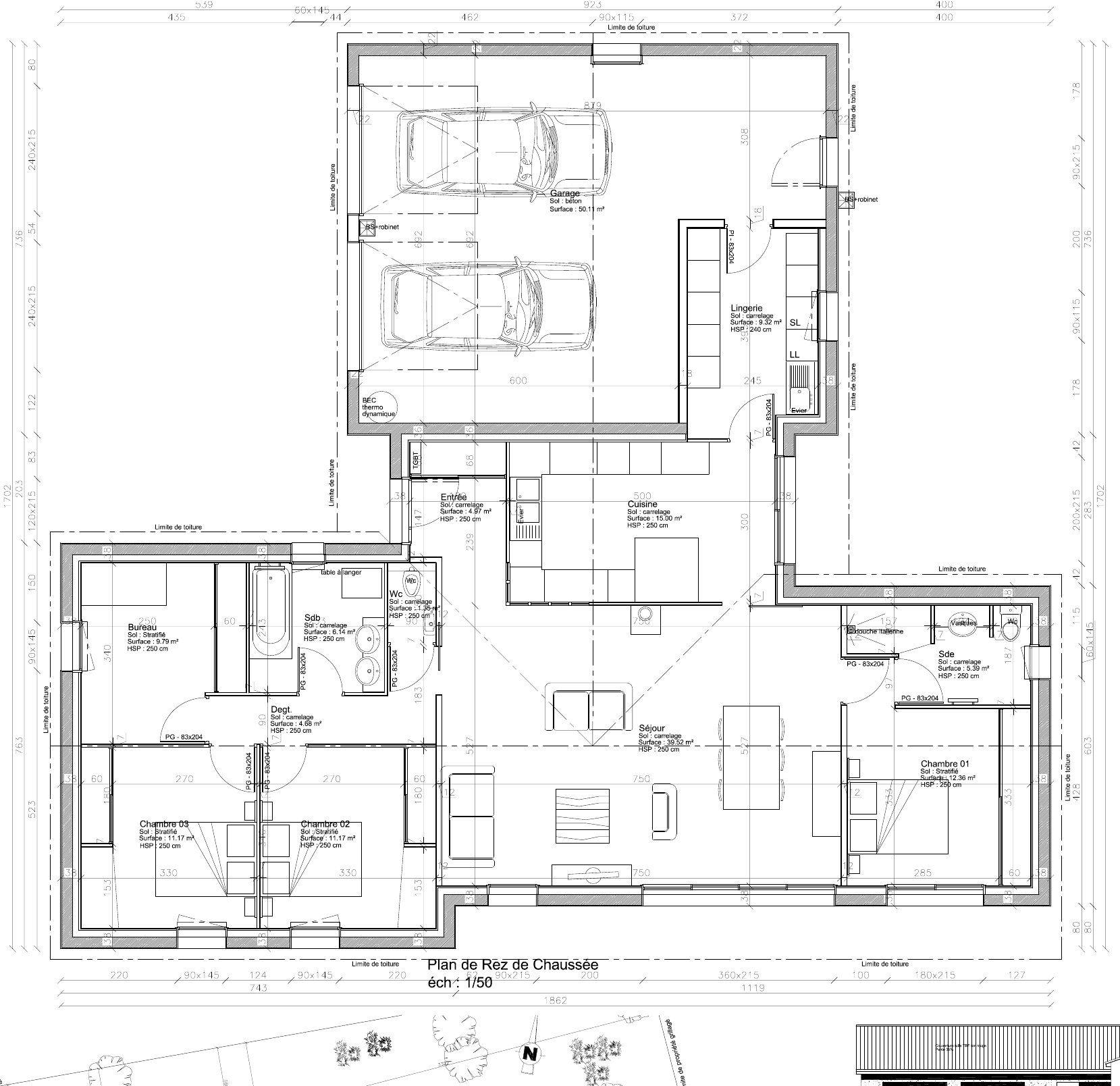 plan de maison forme t
