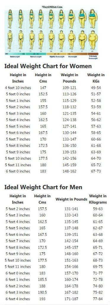 Correct Height And Weight Chart For Women And Men Find Your Ideal