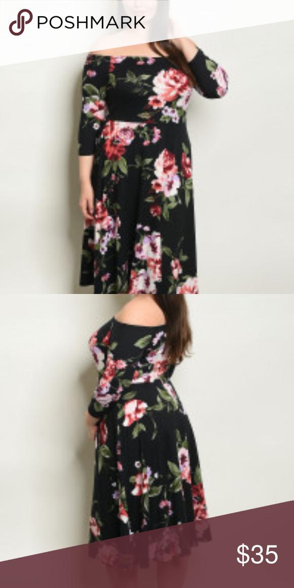 cc051f7773e5 Black Floral Print Plus Size Dress Black Floral Print Plus Size Dress; Off-the-Shoulder  Midi Dress. 96% Polyester; 4% Spandex. L: 39