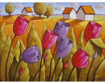 """Fine Folk Art Print by Cathy Horvath 8.5""""x11"""" Modern Giclee, Pink Purple Spring Tulips Color, Cottage Landscape, Flower Artwork Reproduction"""