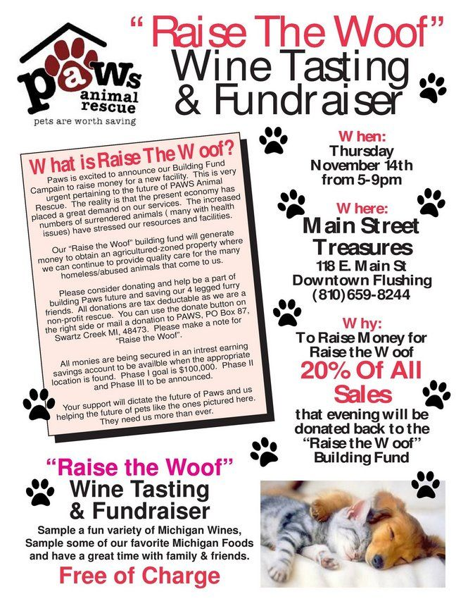Raise The Woof Wine Tasting And Fundraiser Animal Rescue