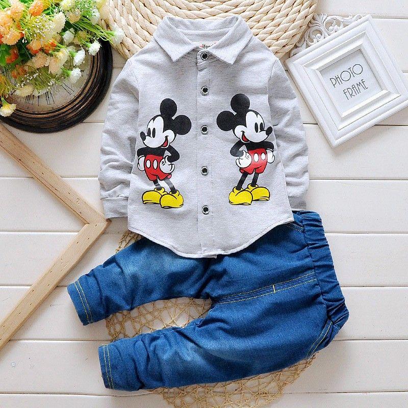 3bb746b75 BibiCola Primavera otoño Niños mickey mouse Juegos de Ropa de bebé ropa de  Los Muchachos Niño Caballero de La Manera de manga larga camiseta + jeans  ...