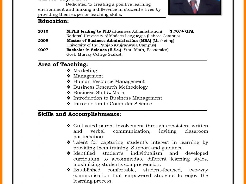 M Phil Teacher resume template, Resume format, How to
