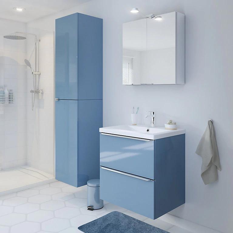 Goodhome Imandra Gloss Blue Vanity Basin Unit W 600mm Vanity Basin Blue Vanity Bathroom Vanity Units
