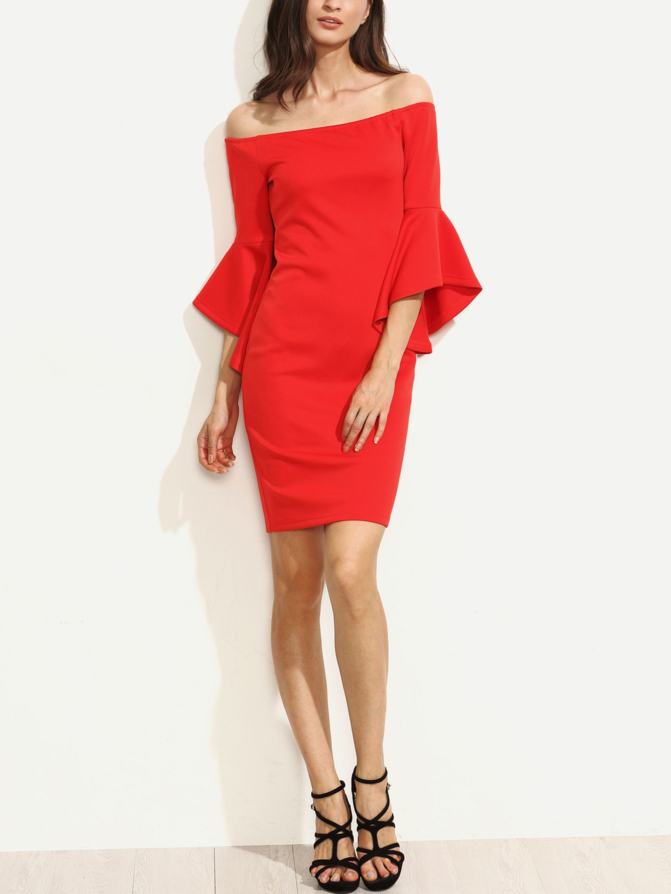9310d86943f Shop Red Ruffle Sleeve Off The Shoulder Split Sheath Dress online. SheIn  offers Red Ruffle Sleeve Off The Shoulder Split Sheath Dress   more to fit  your ...