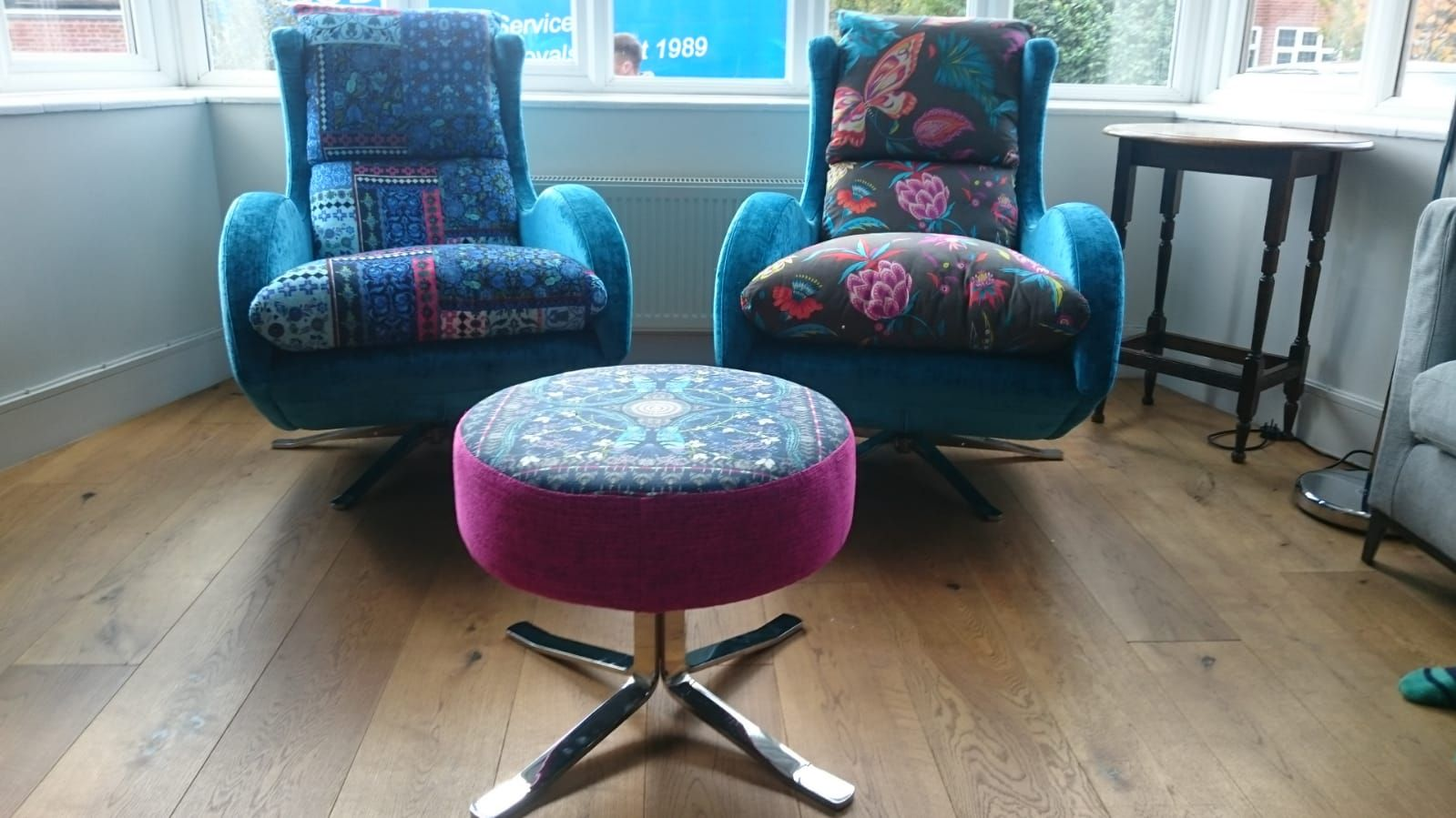 Chrome based swivel tilt designer chairs with one shared