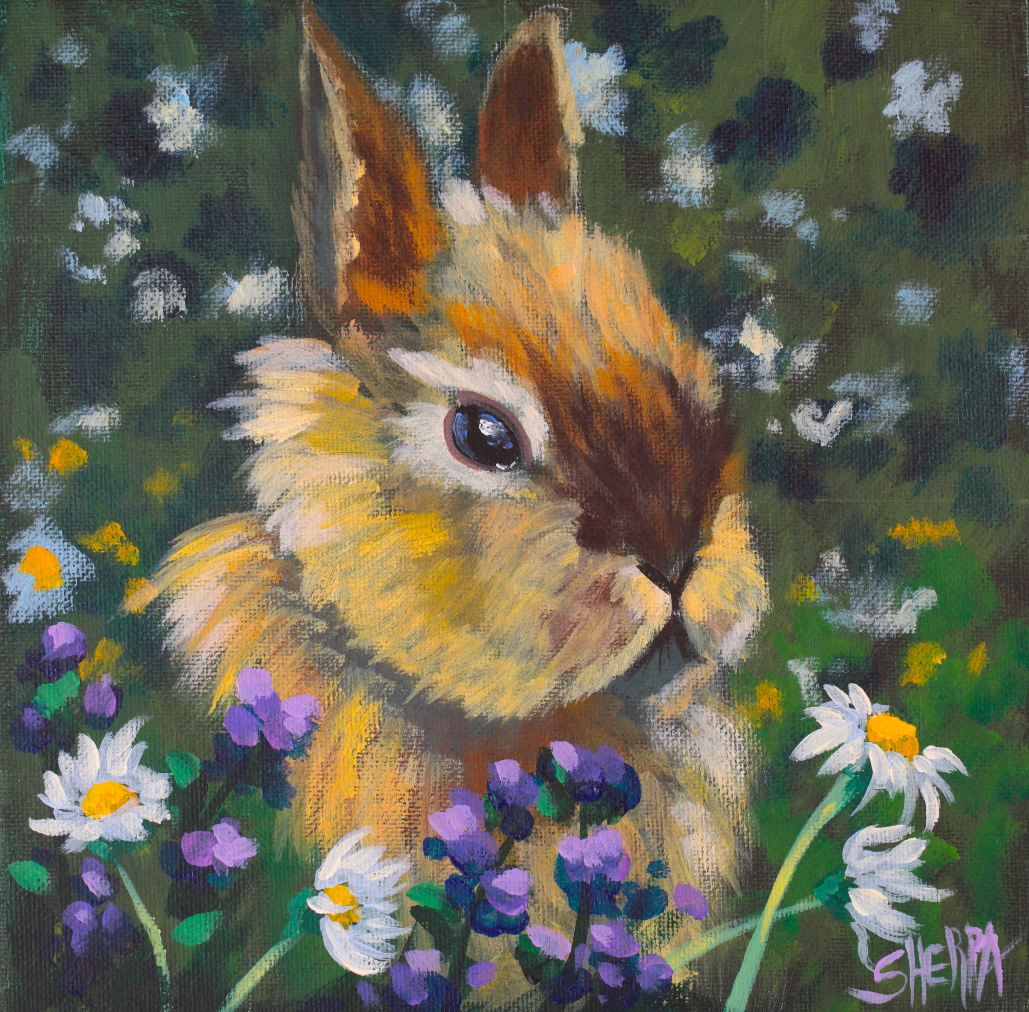 How to paint a cute Bunny Acrylic April Daily Painting step by step Day 5