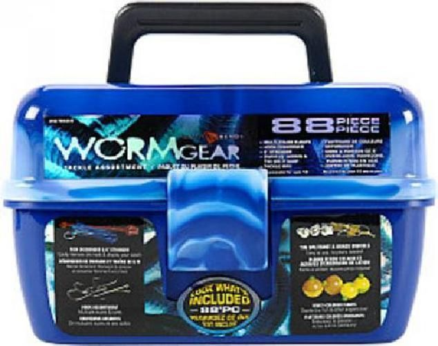 Fish Tackle Box 88 Piece With Fishing Bait Accessories Case Kit Set For Beginner