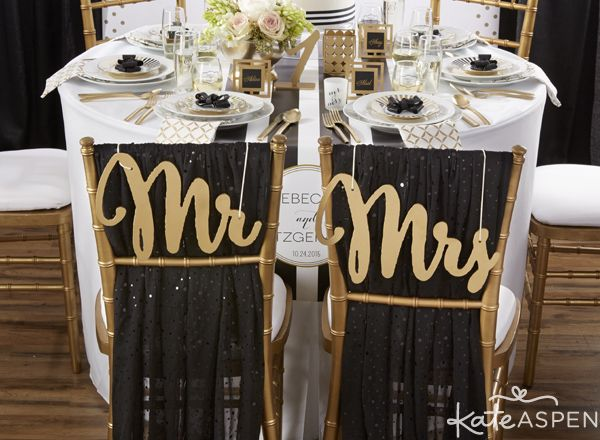 Classic Black And White Wedding Inspiration Chair Decor