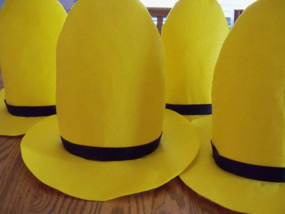 One Man In The Yellow Hat Hat Now In 2 Sizes For Children And Adults Yellow Hat Outfits With Hats Man In The Yellow Hat Costume
