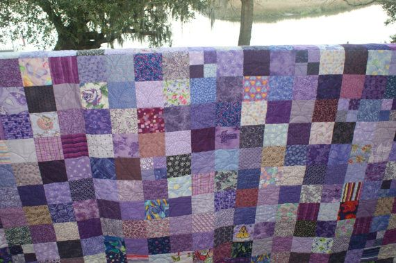 Twin Size All Purple Patchwork Quilt Blanket by LuluBelleQuilts ... : patchwork quilt blanket - Adamdwight.com