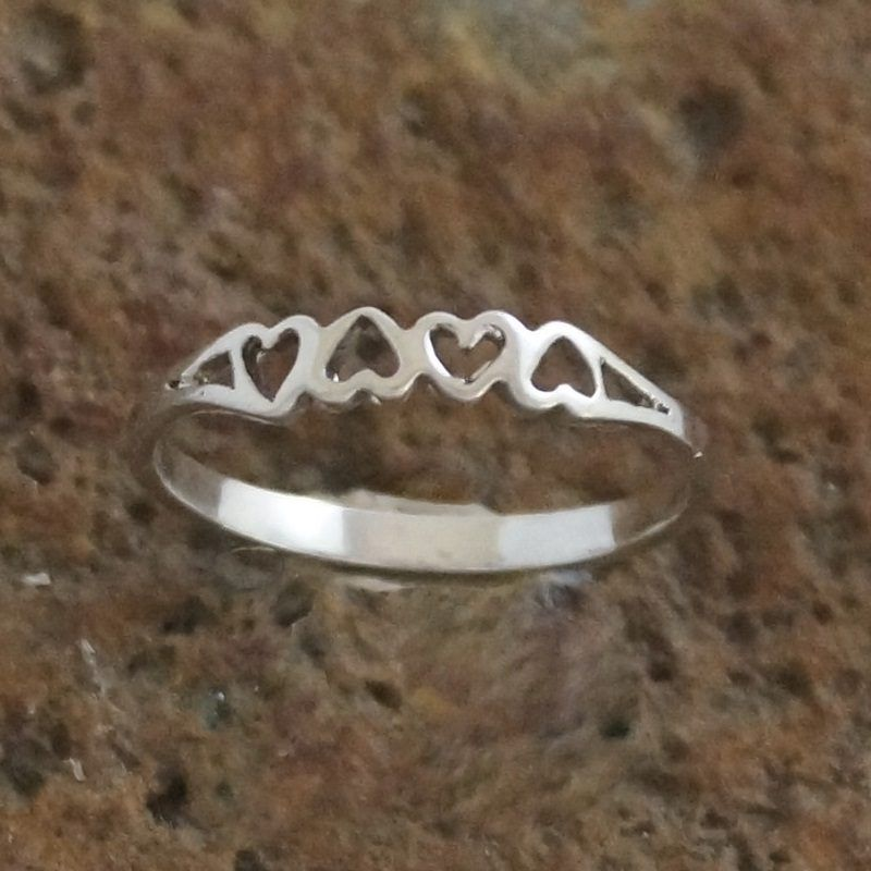 a376e1e0767cf 925 Sterling Silver 4 Heart Ring | jewelry | Silver engagement rings ...
