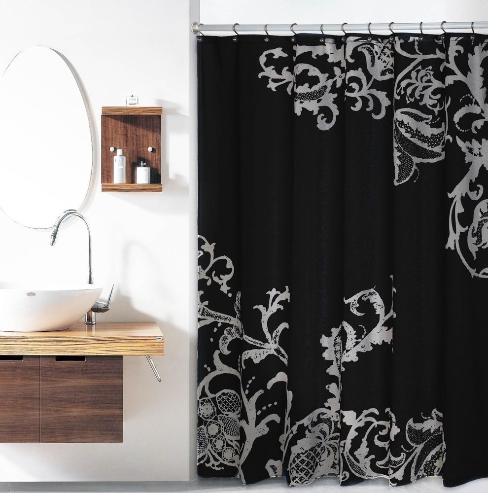 Details About Black Luxury Fabric Shower Curtain With Gray Floral