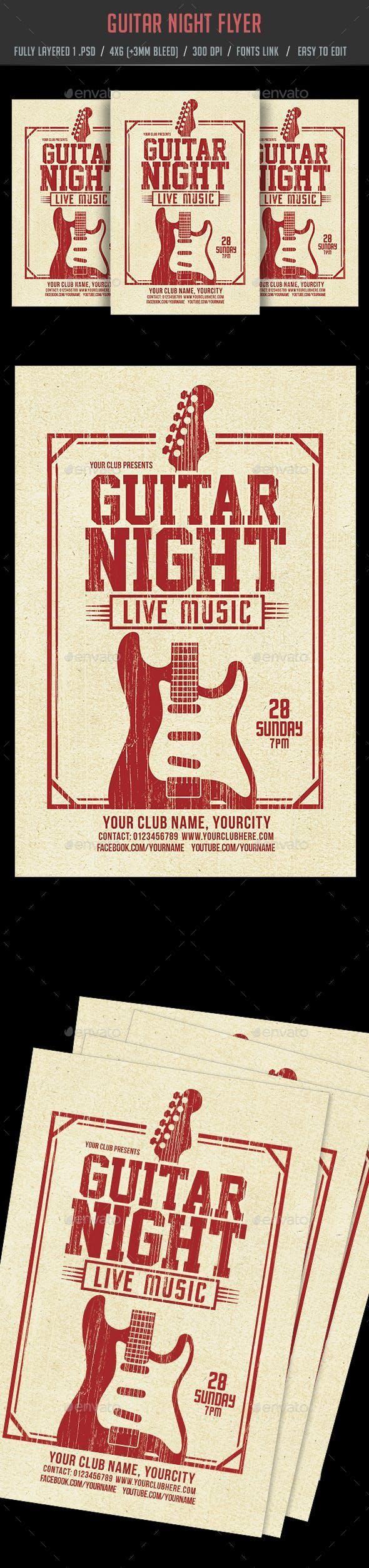 Guitar Night Flyer print FlyerTemplate graphics