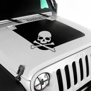 Rugged Ridge JK Jeep Wrangler Black Hood Decal With Skull Jeep - Custom windo decals for jeepsjeep wrangler side decals and stickers jeep gear partsmods