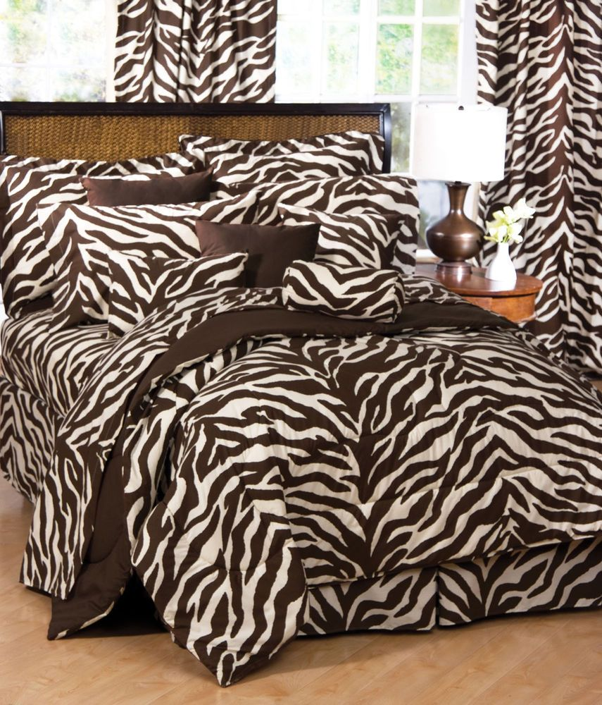 6 Piece TWIN Comforter Set and Sheet Set Bed in a Bag Brown Zebra Print