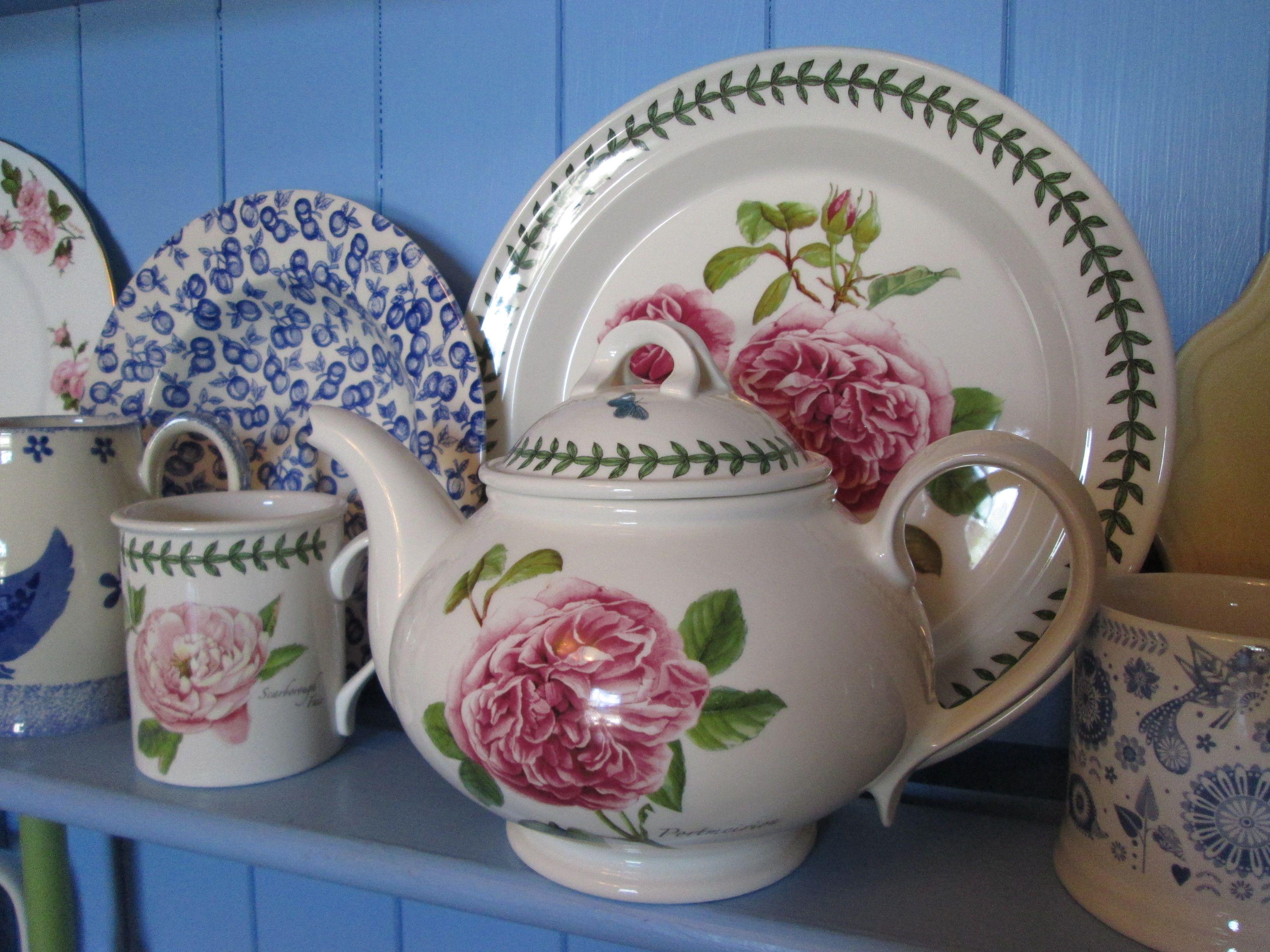 Portmerion china on blue dresser http//www