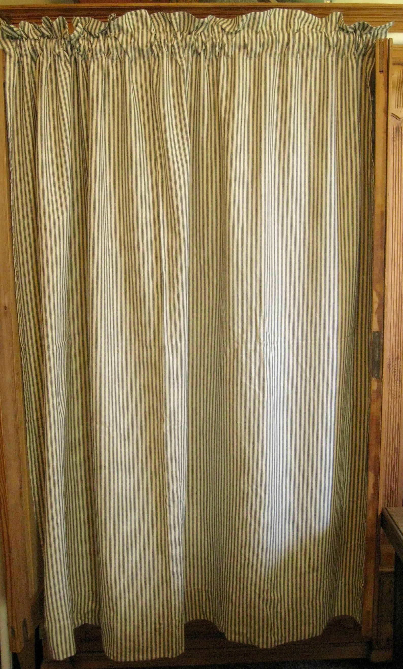 Pillow Ticking Fabric Curtain 100 Cotton Ready To Hang Etsy In