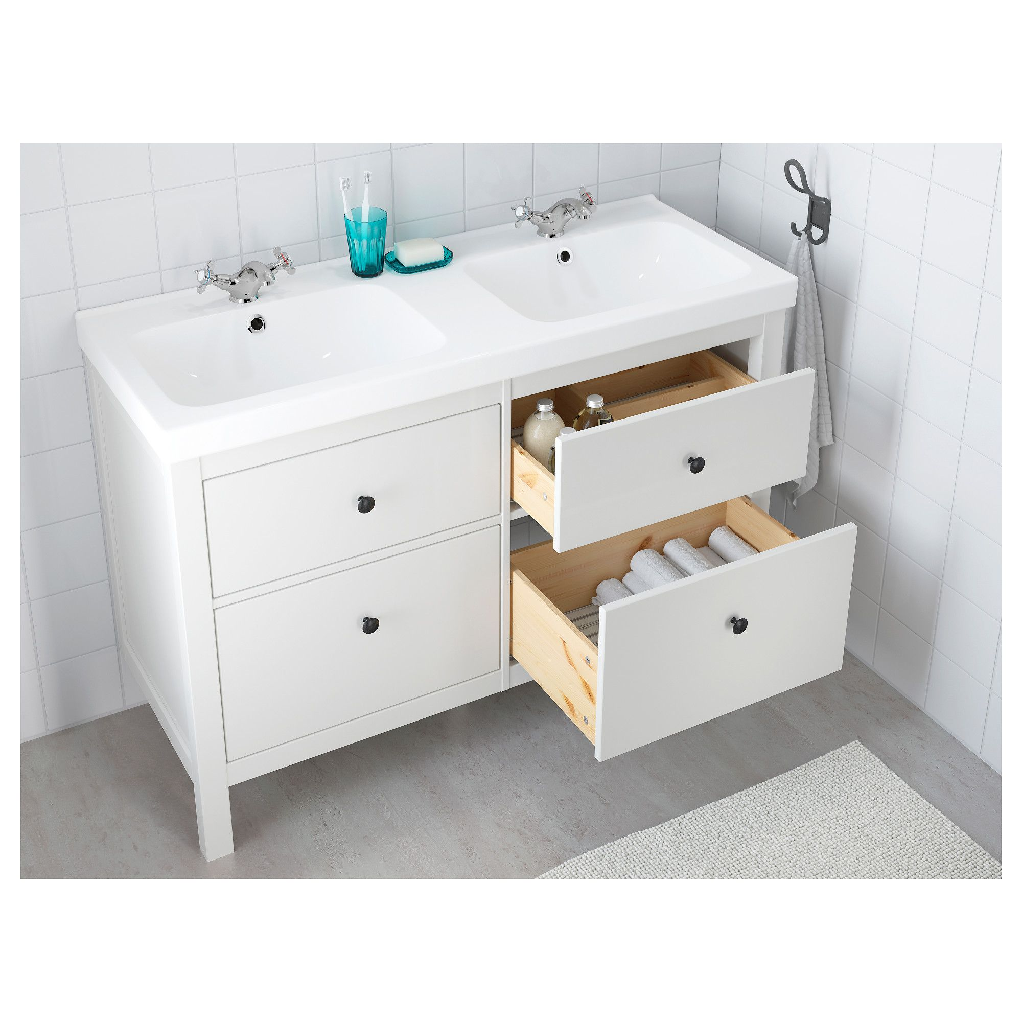 Ikea hemnes odensvik sink cabinet with 4 drawers white - Vanities for small bathrooms ikea ...