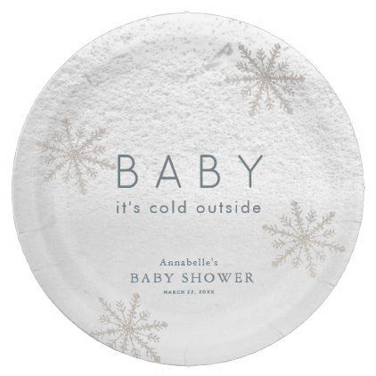 **Cold Outside Baby Shower Theme** Baby It's Cold Outside Snowflakes Baby Shower Paper Plate ...