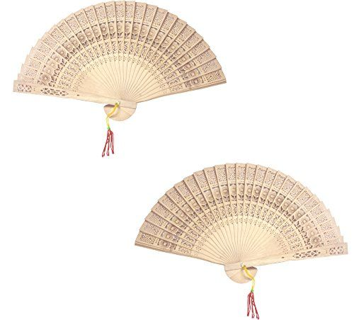Chinese Sandalwood Scented Wooden Hand Held Folding Fans For Wedding