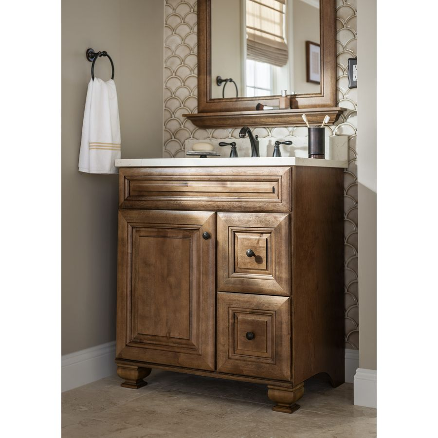 A Rich Mocha Vanity Brings Natural Warmth To Your Bathroom With Images Traditional Bathroom Vanity Bathroom Vanity Redo Lowes Bathroom