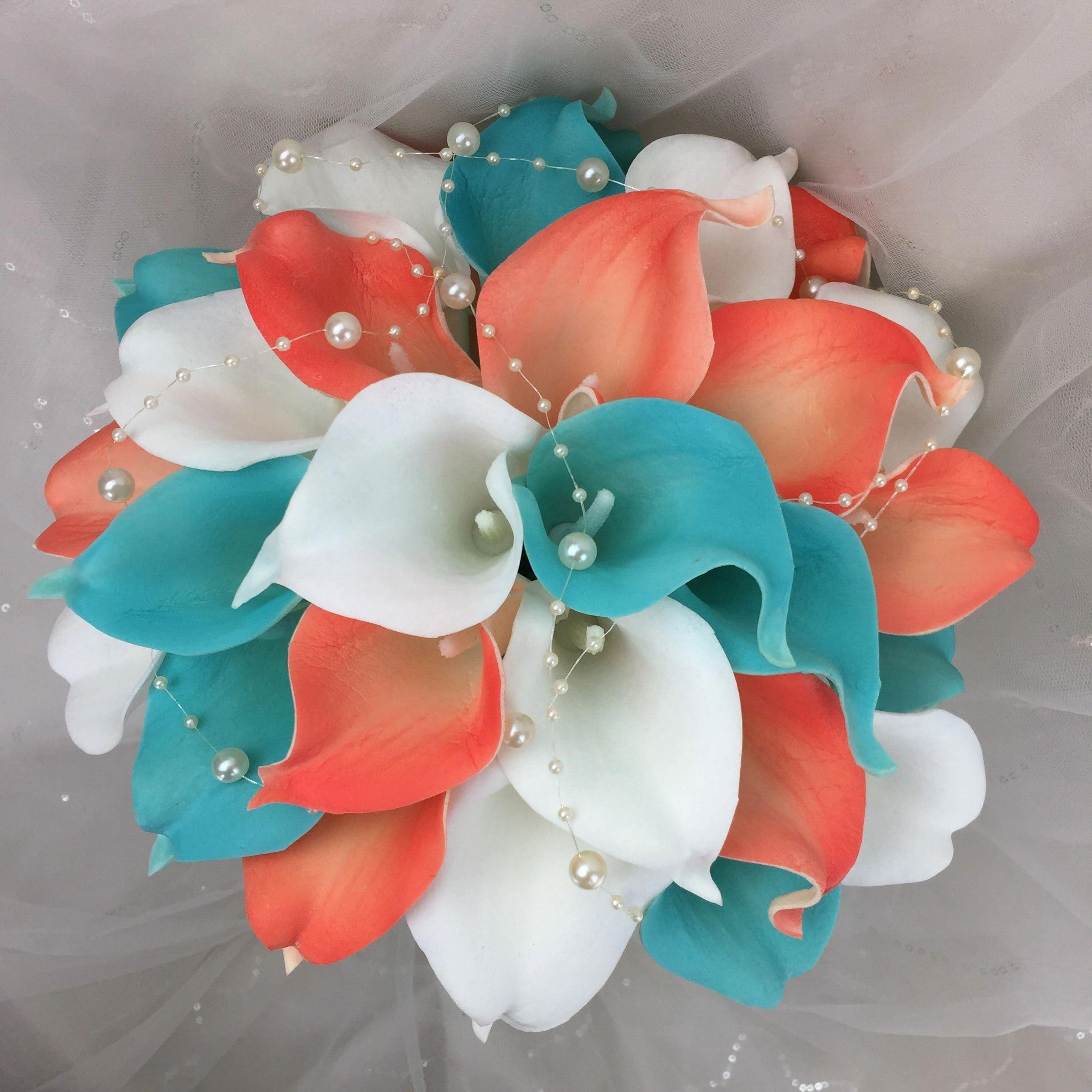Lily Garden Real Touch Calla Lily Coral and White and Carnation Turquoise Flowers Wedding Bouquet (Wedding Bouquet Lilies) #weddingflowerbouquets #turquoisecoralweddings