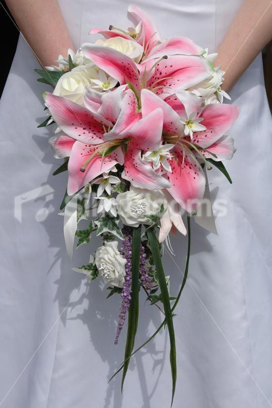 Modern Pink Ivory Stargazer Lily Cascading Artificial Bridal Wedding Bouquet
